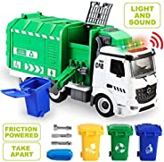 JOYIN Jumbo Take Apart Friction Powered Side-Dump Recycling Garbage Truck Toy with Light and Sounds, 3 Trash C