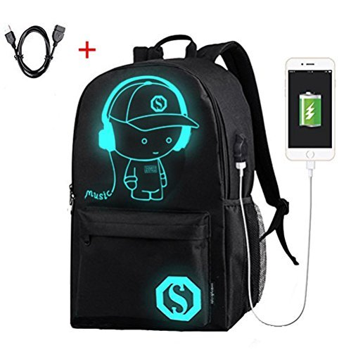 Laptop Backpack High School Backpack Anti Theft Backpack with USB Charging Port School Bookbag for girls and boys Luminous Backpack