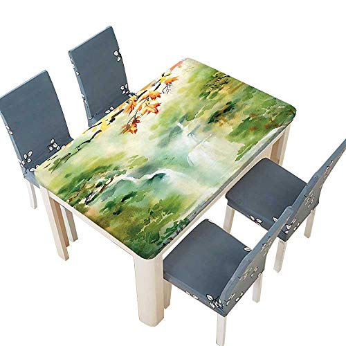 (PINAFORE Polyester Tablecloths Decor Collection Watercolor Illustration of Asian Falls and Mountain in Paradise Exotic Pr for Indoor and Outdoor Use W53 x L92.5 INCH (Elastic Edge))