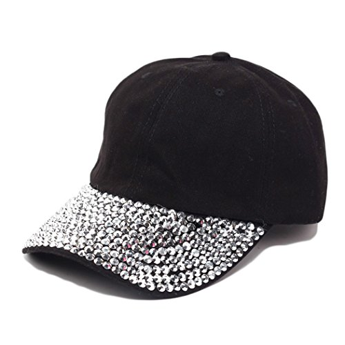 Raylans Women Men Adjustable Rhinestone Studded Bling Tennis Baseball Cap Sun Cap Hat,Black