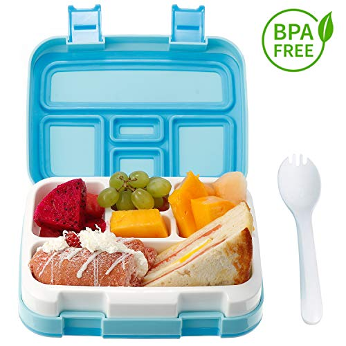 Comfook Lunch Box for Kids, Childrens Bento Box, BPA-Free, Lunch Container with Spoon 5 Compartment Leak Proof Durable for School Picnics Travel (Blue) (Lunch Box Kids Bpafree For)
