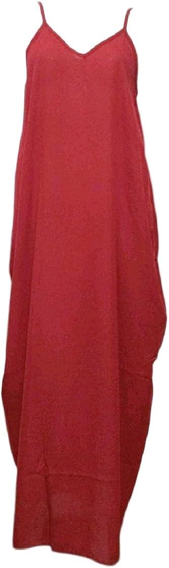 Comaba Women Plus-Size Stylish Chiffon Sleeveless Slip Relaxed Solid Long Sun Dress