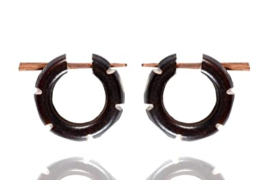 Ethnic Art India Tibetan Antique Handcrafted Carving Bone Wood Stick Earring WER476A