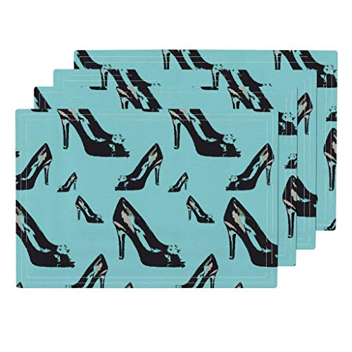 Roostery Shoes 4pc Eco Canvas Cloth Placemat Set - Heels Blue Black Stilettos by Stickelberry (Set of 4) 13 x ()
