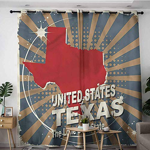 XXANS Simple Curtains,Texas,Sunburst Effect Lone Star,Blackout Draperies for Bedroom,W84x84L