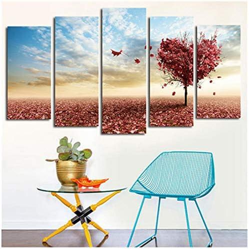 5ピースウォールアート絵画キャンバスアート写真愛ハートツリー家の装飾プリントモジュラー壁にルーム-30x50 30x70 30x80cmなしフレーム