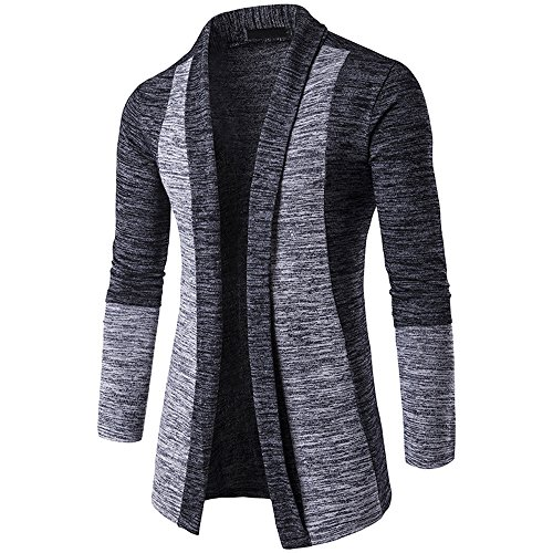 Knitted Knitwear Cardigan Front Open Jumpers Coat Shirt Sleeve Knitted Trench Cardigan Dark Gray Long Slim Outwear HARRYSTORE Fit Long Mens X1g0SqY