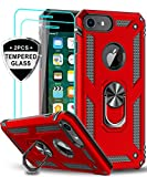 Wireless : LeYi iPhone 6s/ 6 Case, iPhone 7 Case, iPhone 8 Case with Tempered Glass Screen Protector [2Pack], Military Grade Protective Phone Case with Ring Car Mount Kickstand for Apple iPhone 6/6s/7/8, Red