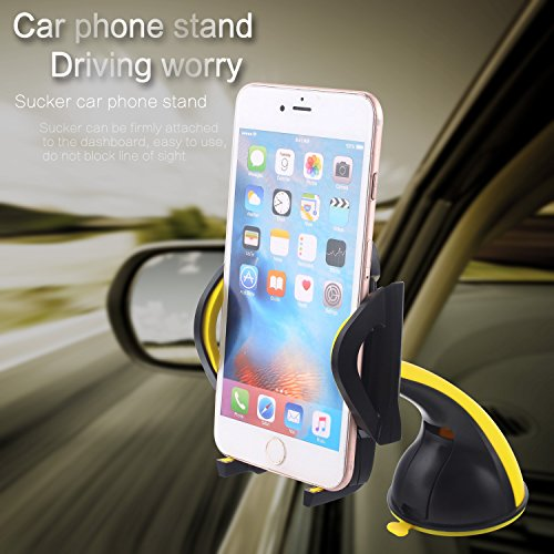 Romix Car Mount Holder, Universal Windshield Cell Phone Holder Cradle Flexible 360 Rotating Car Mount for almost Smartphone - iPhone 7 7Plus Galaxy S7 S7Edge LG HTC up to 7 inches Device (Yellow)