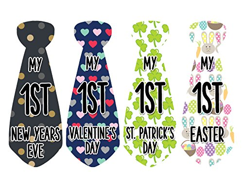 Baby Stickers Milestone Christmas, Birthday, Halloween, Easter, Thanksgiving Baby Stickers (Holiday Necktie)