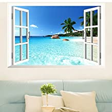 StillCool Still Large Removable Beach Sea 3D Window Decal WALL STICKER Home Decor Exotic Beach View Art Wallpaper Mural (6090cm 3D Beach Sea)