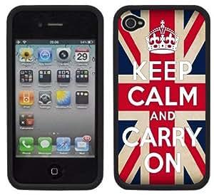 Keep Calm and Carry On Flag Handmade iPhone 4 4S Black Hard Plastic Case