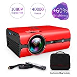 VANKYO Leisure 410 LED Projector with 2500 Lux, Carrying Bag and HDMI Cable, Portable Projector Supports 1080P, HDMI, USB, VGA, AV, SD Card, Compatible with Fire TV Stick, PS3/PS4, Xbox (3-Red)
