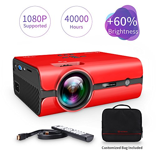 VANKYO Leisure 410 LED Projector with 2500 Lux, Portable Projector with Carrying Bag, Mini Video Projector 1080P Support, Home Theater Projector Compatible with Fire TV Stick HDMI USB SD Card (Red) by VANKYO