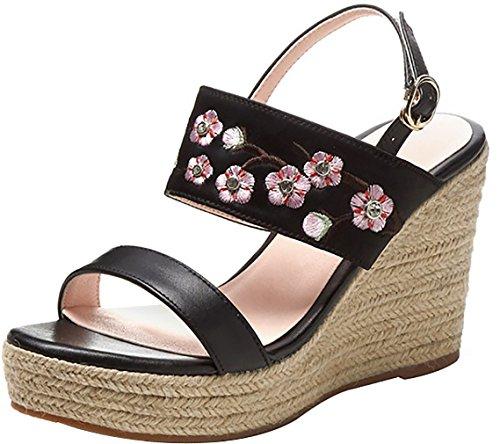 Calaier Women Catxak Open-Toe 9CM Wedge Heel Buckle Sandals Shoes Black shmnQ99Dc