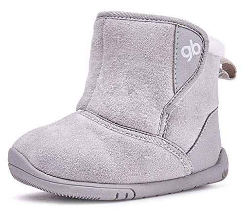 Baby Boys Girls Snow Boots Warm Winter Non Skid Infant Prewalker Shoes 6 9 12 16 18 24 Months Gray Size 6