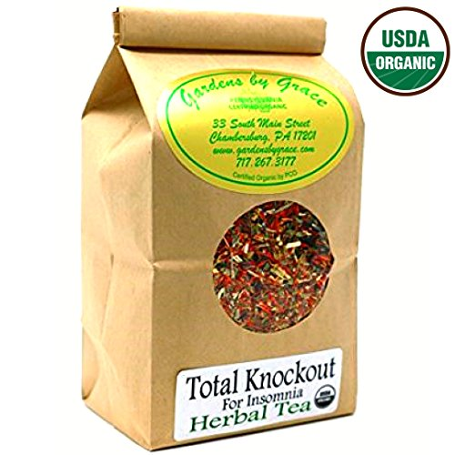 Insomnia, Organic Sleep Aid, Relaxation, Restful Sleep, Bedtime, Nighttime, Good Night's Rest Herbal Tea, Smooth Taste, Valerian, Chamomile, Passion Flower, Total Knockout for Insomnia Tea, 4oz