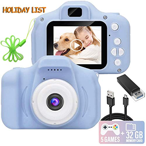 Kids Camera, 1080P FHD Digital Video Recorder Shockproof Action Cameras with 2 Inch IPS Screen and 32GB SD Card for Girls Boys Gifts Blue