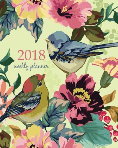 2018 Weekly Planner: Calendar Schedule Organizer Appointment Journal Notebook and Action day,vintage hand drawn watercolor birds on a branch with red ... art design (2018 Weekly Planners) (Volume 19) (Red Branch)