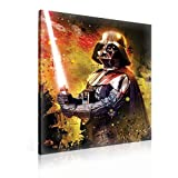 Ready to Hang Canvas Wall Art - Star Wars Dark Lord Rise Darth Vader Red Light Sabor - XXL - 39'' x 29.5'' (100 x 75 cm) - Red Picture Panel