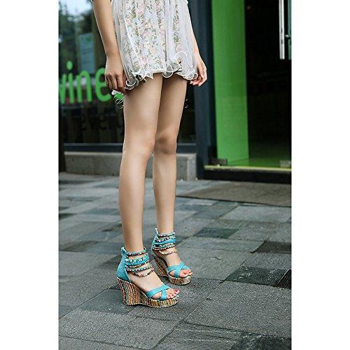 Bohemia Multicolor con Cuentas Sandalias Cuña Plataforma Etnicas Verano Playa Zapatos de Tacón Alto Mujer Azul