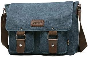 13 Inch Men's Vintage Canvas Messenger Bag Crossbody Bag Briefcase Laptop Bag(Coffee)