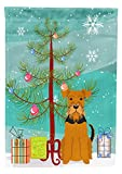 Caroline's Treasures BB4166GF Merry Christmas Tree Airedale Garden Size Flag, Small, Multicolor