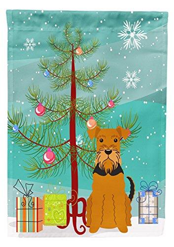 Caroline's Treasures BB4166GF Merry Christmas Tree Airedale Garden Size Flag, Small, Multicolor