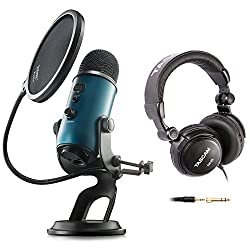 Blue Microphones Yeti Teal USB Microphone with Studio Headphones and Knox Pop Filter