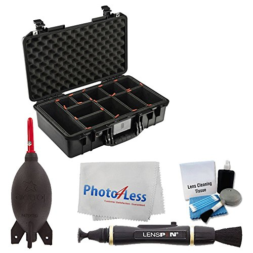 Pelican 1525Air Carry-On Case, Black (with TrekPak Insert) + Giottos Rocket Air Blaster + Cleaning Pen + 5 Piece Cleaning Kit + Photo4Less Cloth - Complete Quality Accessory Bundle by PHOTO4LESS