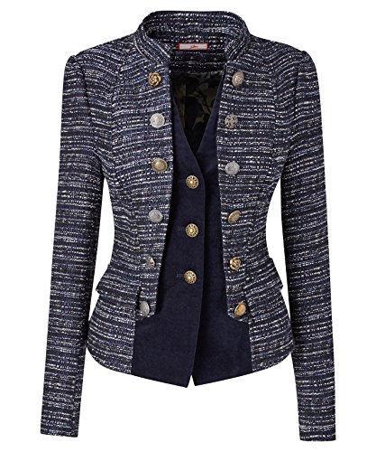 Tweed Fitted Jacket (Joe Browns Women's Military styled Tweed 2-1 Fitted Jacket with mock Waistcoat (18))