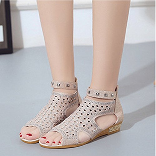 Rivets Sandals Back Beads Gemstones Zipper Roman Fish Womens Slippers JULY Ladies T Studded Beige Mouth Bling Girls Sandals Flat xI6qWwT