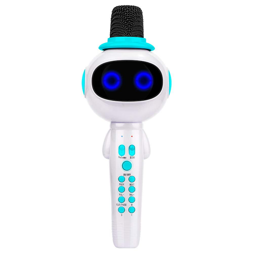BONAOK Kids Wireless Bluetooth Karaoke Microphone with Magic Sound & Colorful LED light, 5 in 1 Portable Handheld Party Karaoke Speaker Machine New Year Gift for Android/iPhone/iPad/PC (Blue) by BONAOK (Image #1)