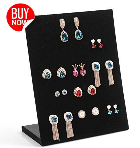 Nose Display Ring (Valdler Earring Holder Velvet Fabric Display Holder Organizer Jewelry Displays 30 Pairs Black)