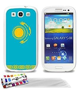 """Carcasa Flexible Ultra-Slim SAMSUNG GALAXY S3 de exclusivo motivo [Bandera Kazajstán] [Blanca] de MUZZANO  + 3 Pelliculas de Pantalla """"UltraClear"""" + ESTILETE y PAÑO MUZZANO REGALADOS - La Protección Antigolpes ULTIMA, ELEGANTE Y DURADERA para su SAMSUNG GALAXY S3"""