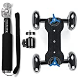 Selens Track Skater Dolly Kit Includes: Camera Dolly Table Top Slider and Extendable Selfie stick Handheld Monopod for Nikon Canon Sony DSLRs and Video Camcorders