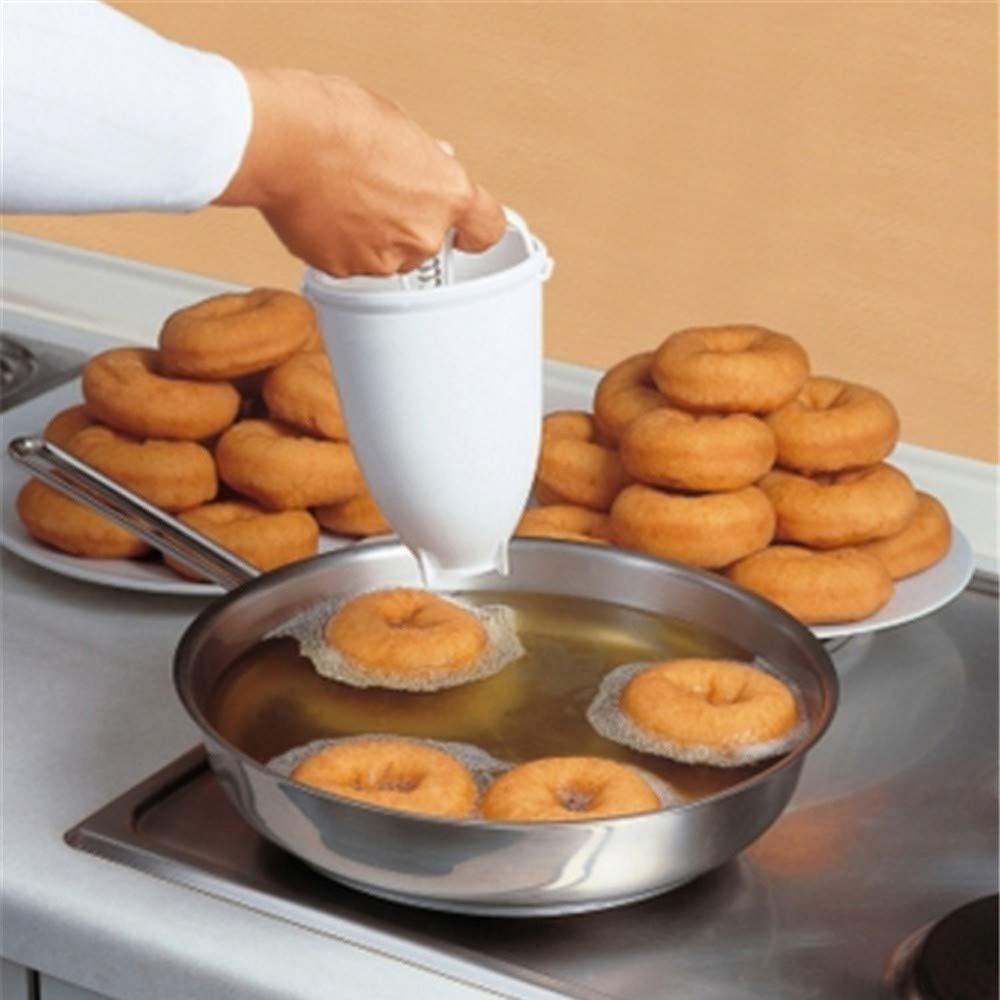 Clearance Tuscom Plastic Stainless Steel Donut Making Artifact,forTool Kitchen Pastry Making Bake Ware,3.54''X7.09'' DIY Baking Tool (White)