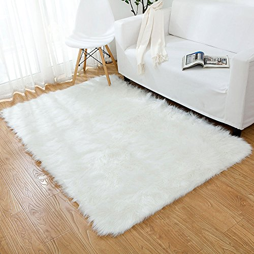 OJIA Deluxe Soft Faux Sheepskin Shaggy Area Floor Rugs Children Play Carpet for Living & Bedroom Sofa (4 x 6ft, Ivory White)