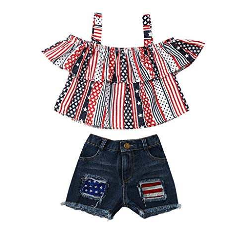 4th of July Baby Girls Outfits HANANei Toddler Kids Stars Stripe Print Patriotic Tops+Denim Shorts Pant American Dependence Day Clothes (12-18 M, Multicolour)