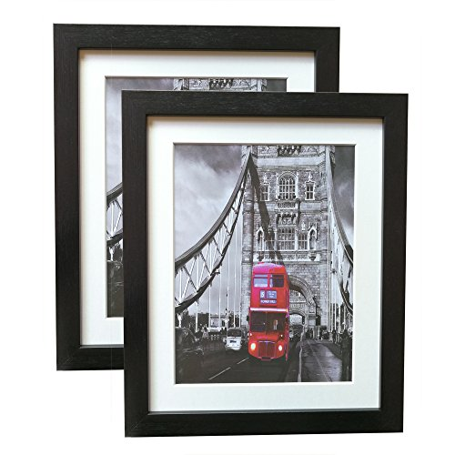 2 Pack 8x10 Black Photo Frames Art Picture Frame for Wall & Tabletop Set with Real Glass and Hairline Finish Surface Treatment Made to Display of 8x10 Inch Without Mat or 6x8 Inch with Mat HA-B -