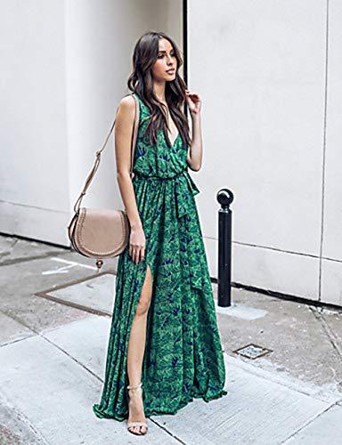 Green Cintura Profunda XL En Mujer Noche Alta Vestido Corte Escote JIZHI Maxi Swing V RPYgw7Hxq