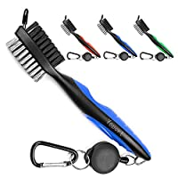 Golf Club Brush and Groove Cleaner with 2 Ft Retractable Zip-line and Aluminum Carabiner Cleaning Tools + 5 in 1 Golf Pocket Divot Tool