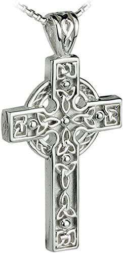 New Silver Irish Celtic Trinity Knot and Claddagh Cross Necklace Gift Boxed