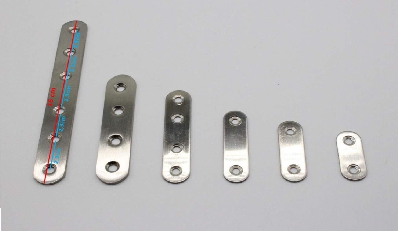 10x conectores planos de acero inoxidable conector de madera ideal para uso en interiores y exteriores Placa perforada en 6 tama/ños diferentes 40-160mm 96mm