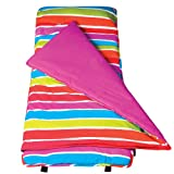 Wildkin Original Nap Mat, Children's Original Nap Mat with Built in Blanket and Pillowcase, Pillow Insert Included, Premium Cotton and Microfiber Blend, Children Ages 3-7 years – Bright Stripes