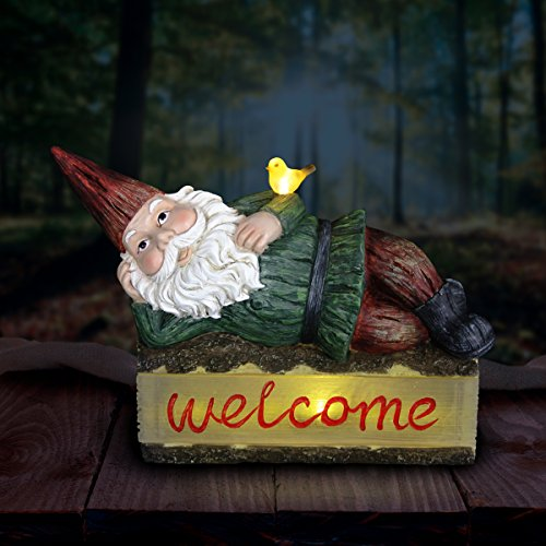 Exhart Solar Gnome Welcome Sign Garden Statue – Light Up Gnome Statue on Welcome Sign Log w/Resin Décor, Whimsical, Durable & Solar Powered- Perfect for Porch & Garden 16.14