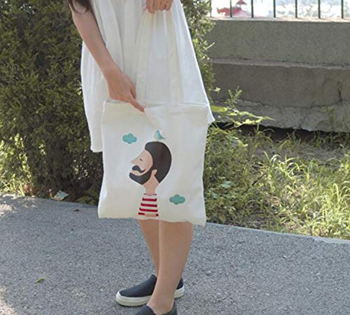 White Zhoyea Durable Multipurpose Canvas Man and Bird Shoulder Bag Large Capacity Light School Books Bag