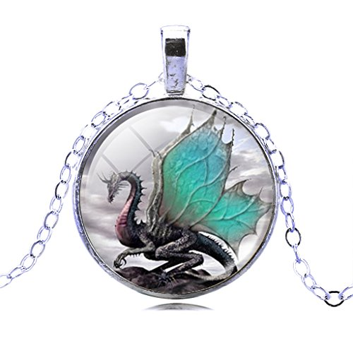 Fashion Jewelry Men Mythical Green Wings Dragon Crystal Cabochon Pendant Necklace Christmas Gifts