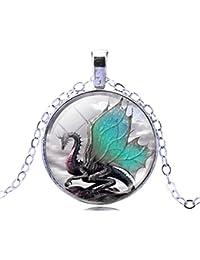 Women Men Magic Large Dragon Star Crescent Time Gem Dangle Pendant Silvery Chain Necklace
