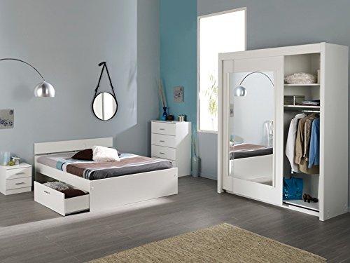 Schlafzimmer Inaco 112 weiß, Jugendzimmer 4-teilig, Schwebetürenschrank, Bett 160cm, Kommode, Nako